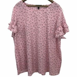 Lane Bryant Ruffled Short Sleeve Floral Blouse